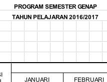 Program Semester Genap Tahun 2016/2017 dengan Excel