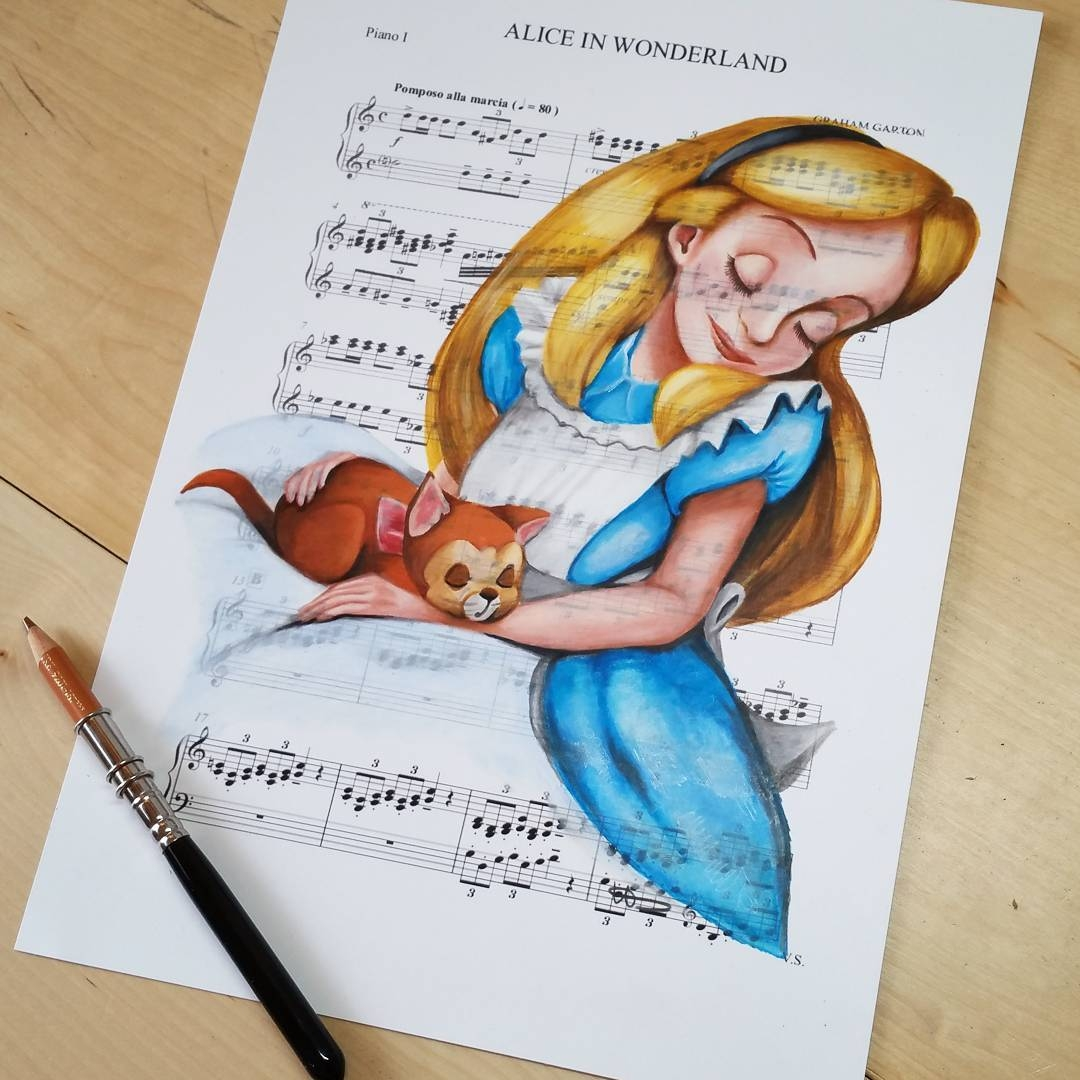 03-Alice-in-Wonderland-Ursula-Doughty-Animated-Movies-Drawn-on-their-Music-Scores-www-designstack-co