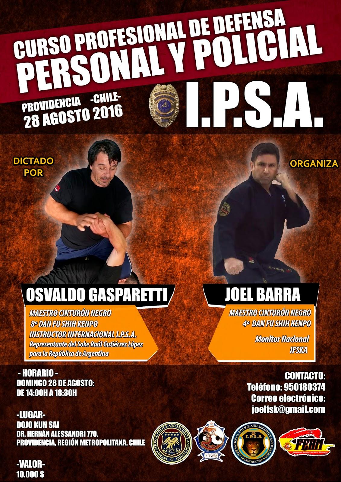 IPSA DEFENSA PERSONAL POLICIAL CURSO I.P.S.A. SEMINARIO GUARDIA CIVIL POLICIA MILITAR PENITENCIARIA SEGURIDAD ASOCIACION INTERNACIONAL IPSA INTERNATIONAL POLICE AND SECURITY ASSOCIATION IPSA INTERNACIONAL CURSOS SEMINARIOS