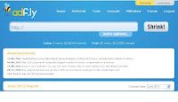 Adfly : tableau de bord du compte Adfly
