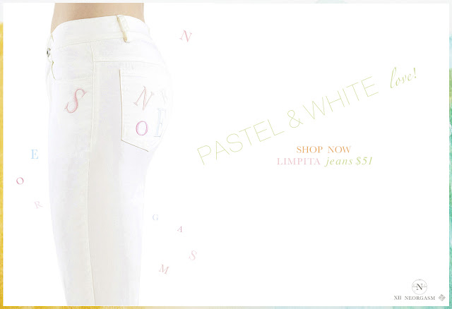 NEORGASM limpita jeans / Perfect summer white jeans silk embroidered alphabet jeans