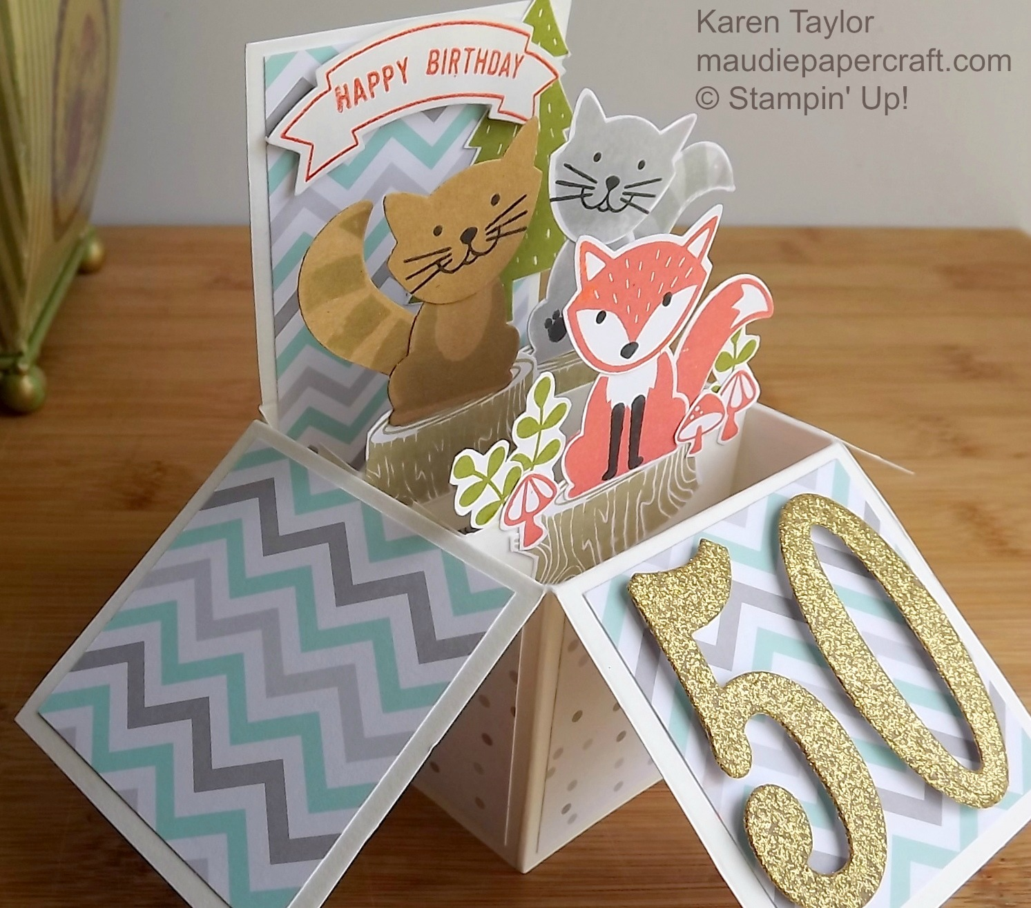 Mau Papercraft Stampin Up Foxy Friends card in a box 50th
