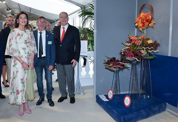 Princess Caroline wore a floral-print silk-chiffon midi dress by Giambattista Valli. Enrico Barla became the winner of Princess Grace Award