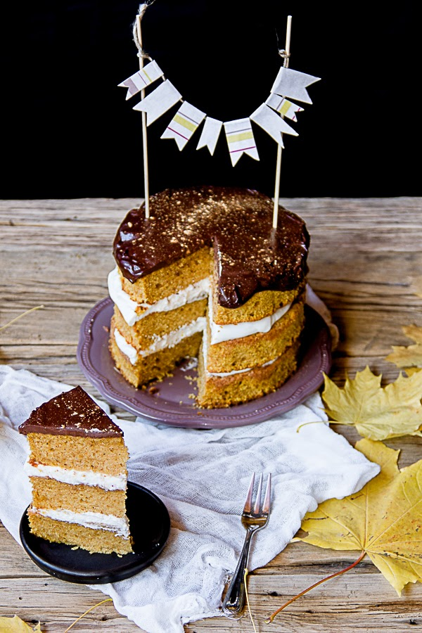 Pumpkin Cake with Mascarpone Frosting & Chocolate Gahache