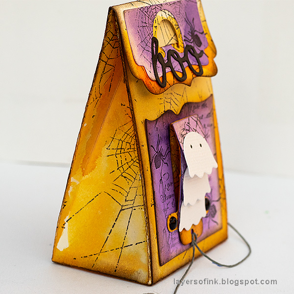 Layers of ink - Waterfall Video Tutorial by Anna-Karin Evaldsson, Halloween favor bag.