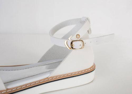 Exposed Stitch Ankle Strap Sandals