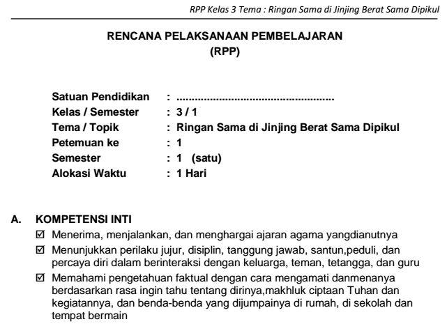 Download RPP SD Kelas III Semester 1 Tema Ringan Sama di Jinjing Berat Sama Dipikul Kurikulum 2013 Format PDF