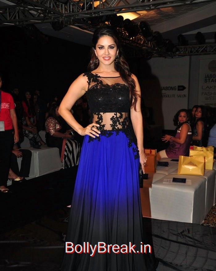 Sunny Leone, Actress Sunny Leone Pics in Blue Dress - Lakme Fashion Week