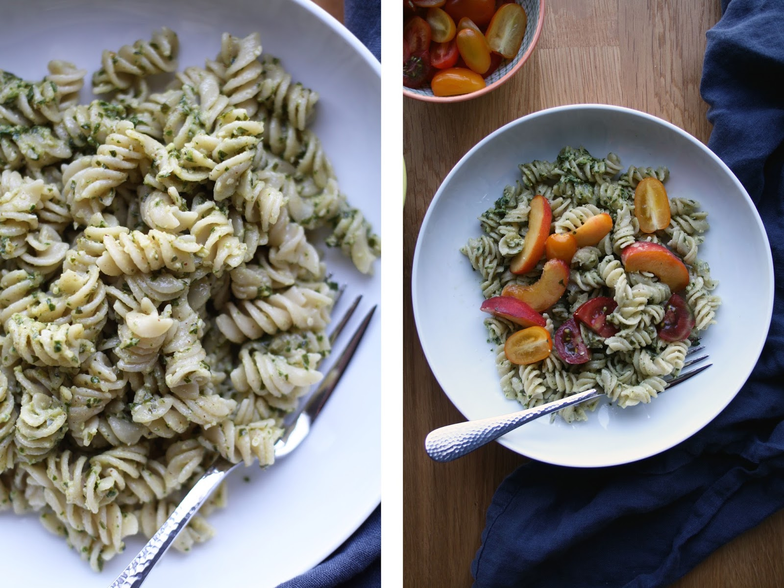Summer Pasta with Hemp Seed + Basil Pesto (V+GF) | Sevengrams