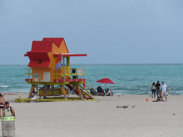 Geometric red and orange lifeguard station on Miami South Beach