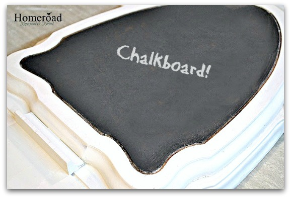 Repurposed and Broken Table Ideas into new chalkboard message center