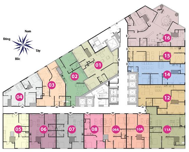 Mặt bằng tầng 12 đến tầng 17 tháp doanh nhân