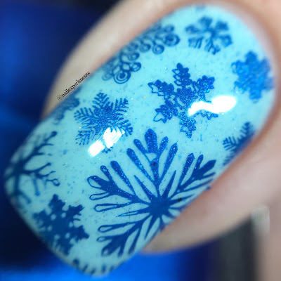 Girly Bits Bleu de tes yeux and sapphire stamping polish swatch