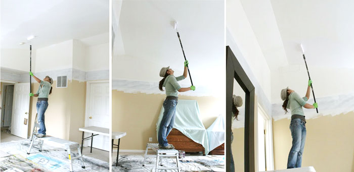 ceiling with water stains getting fixed.