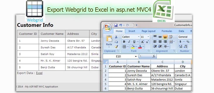 How to Export Webgrid to Excel in MVC4 Application | DotNet - awesome