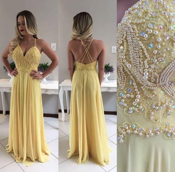 vestido de festa amarelo 2017