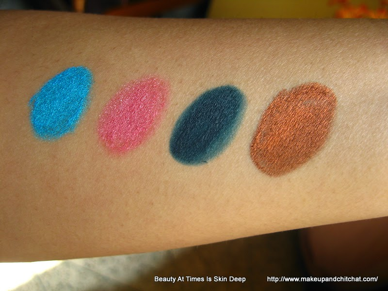 Swatches of Lakme Glide on Eye Pencils