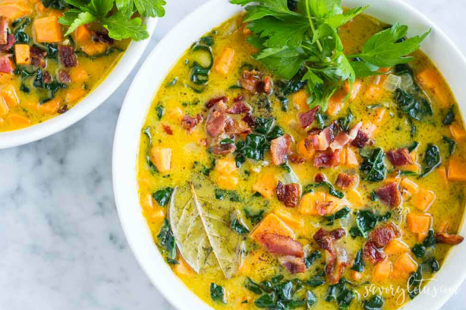 CREAMY SWEET POTATO BACON CHOWDER  #bacon #diet