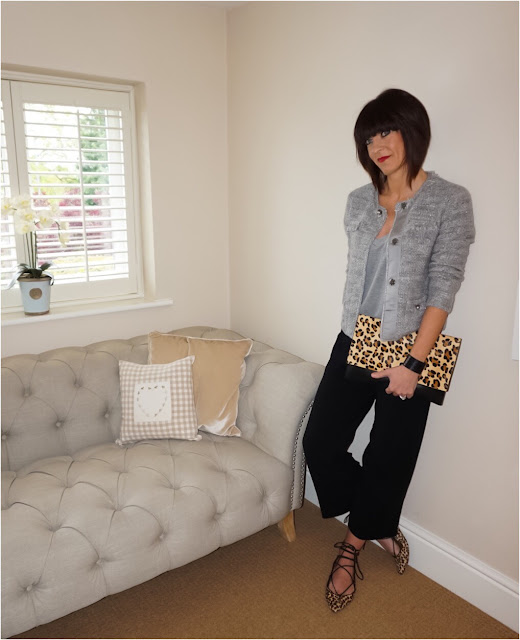 My Midlife Fashion, Mango Crop Trouser, Mango cuff bracelet, zara deep V neck grey marl t shirt, grey boucle jacket, leopard print ghillie lace up flats, leopard print across body bag