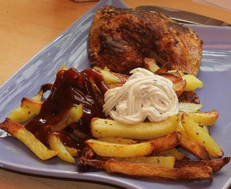 Patatas fritas con mayonesa