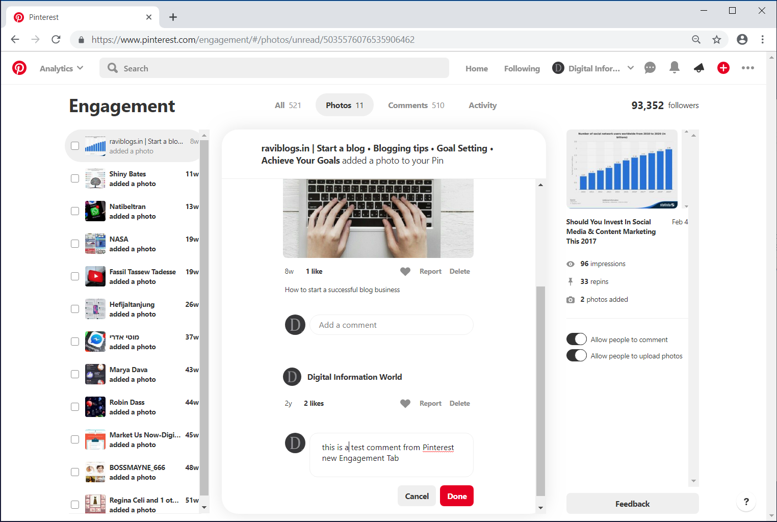 Pinterest Introduces an Engagement Section For Business Accounts