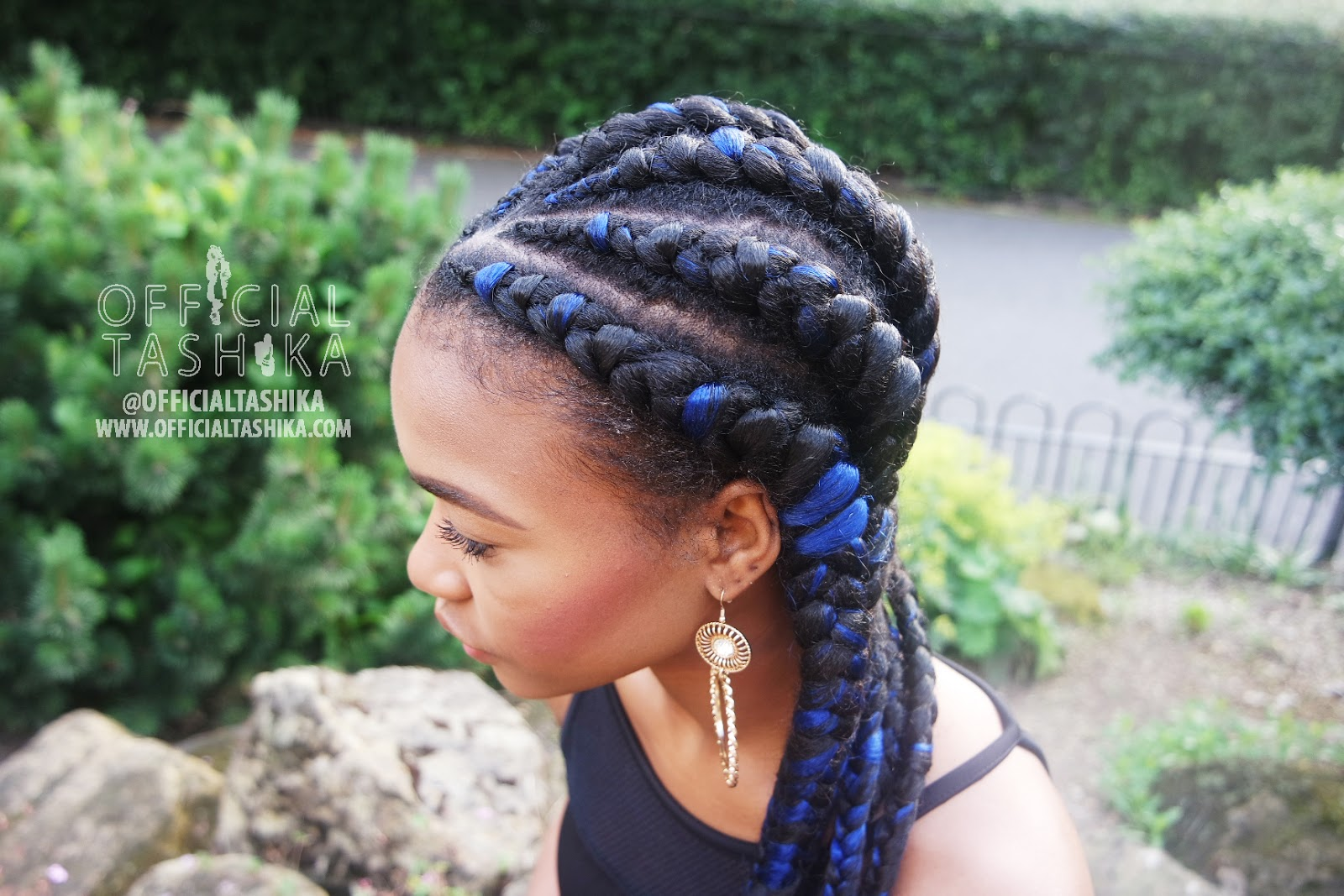 BLACK AND BLUE GHANIAN CORNROWS | TASHIKA BAILEY