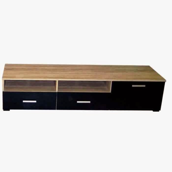 meuble noir et bois meuble tv noir et bois meuble tv longueur 100 cm maisonjoffrois meuble tv. Black Bedroom Furniture Sets. Home Design Ideas