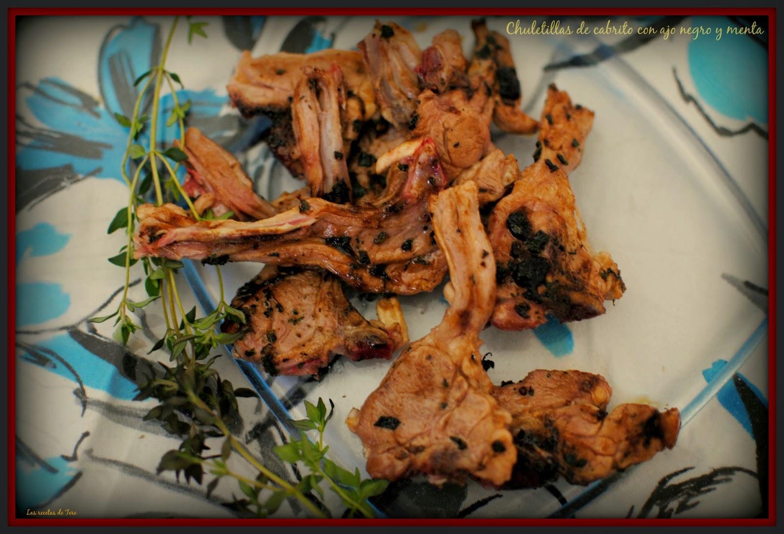 chuletillas de cabrito con ajo negro y menta tererecetas 05