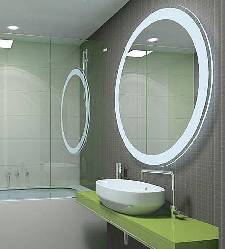 Cermin Di Bilik Air Berbingkai Bulat