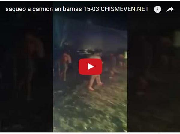 Saqueado camión de comida en Barinas