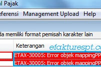 Import Faktur Error ETAX-30005 : Error Objek Mapping