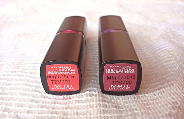 Maybelline colorshow matte lipstick Rock the coral and Lively violet