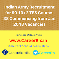 Indian Army Recruitment for 90 10+2 TES Course-38 Commencing from Jan 2018 Vacancies