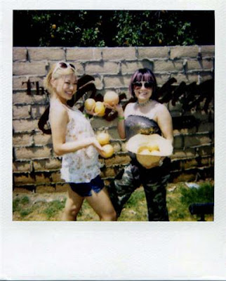 Polaroid of girls posing with grapefruits in Indio, California during Coachella