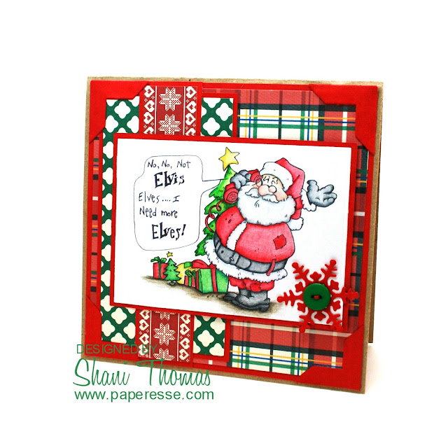 Not Elvis, Elves! Christmas card featuring QKR Stampede Need More Elves digistamp, by Paperesse.