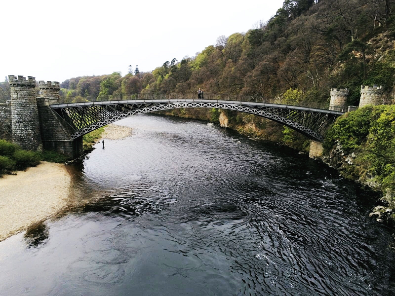 Drone shot of the 3 of us on Craigellachie Bridge