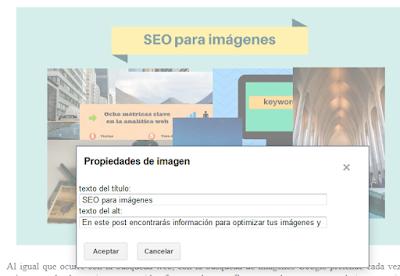 Es importante para optimizar el SEO de tus imágenes rellenar el título y la descripción del atributo ALT.
