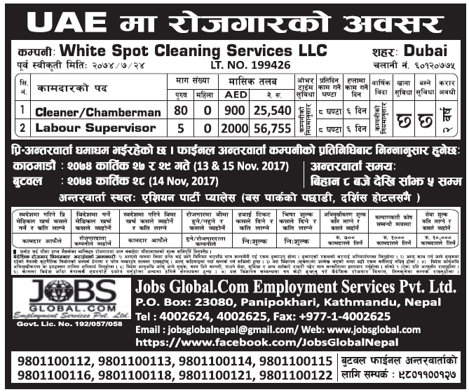 Jobs in UAE for Nepali, Salary Rs 56,755