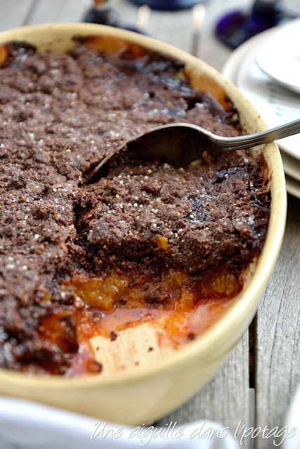 Chocolate and apricot crumble