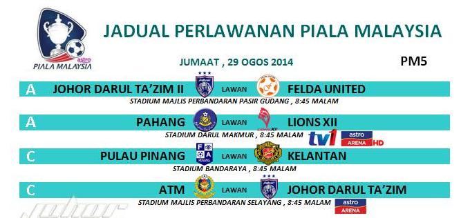 live streaming Piala Malaysia 29 Ogos 2014 Jumaat