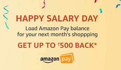 Amazon- Load Rs.500 Amazon Pay balance or more, get 20% cashback (max cashback Rs.500 per customer)