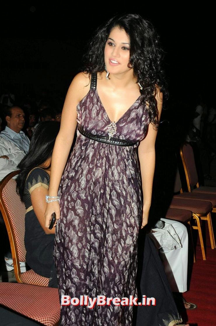 , Hot Photos of Tapsee in Open Dress without Sleeves.