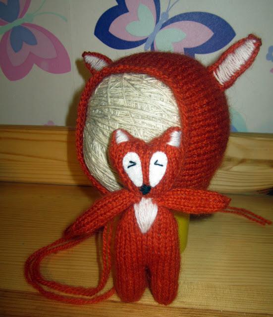 вязаная игрушка лисенок, вязаная игрушка лиса, как связать лису спицами
