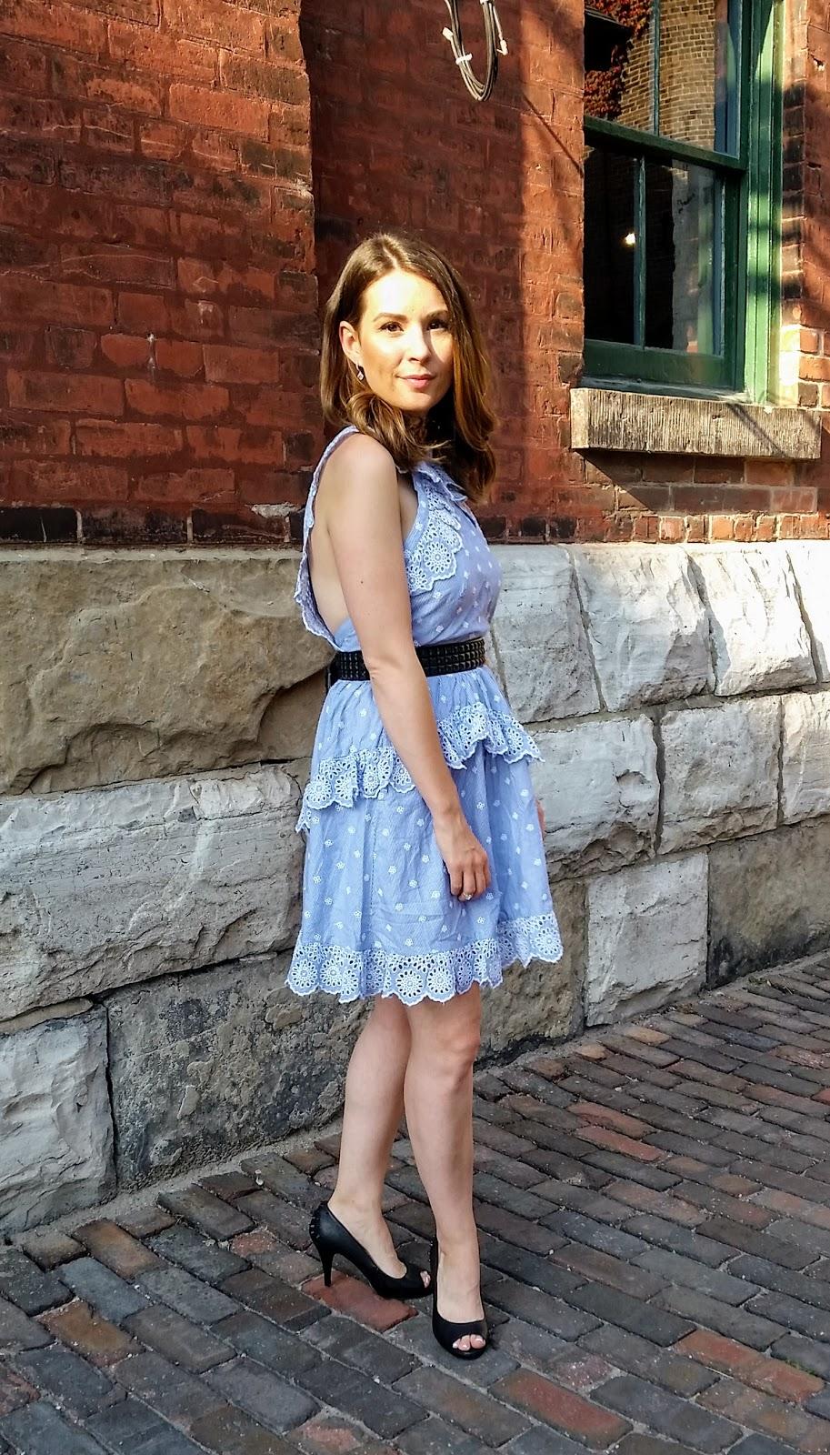 Backless Blue Dress, studded belt, pumps