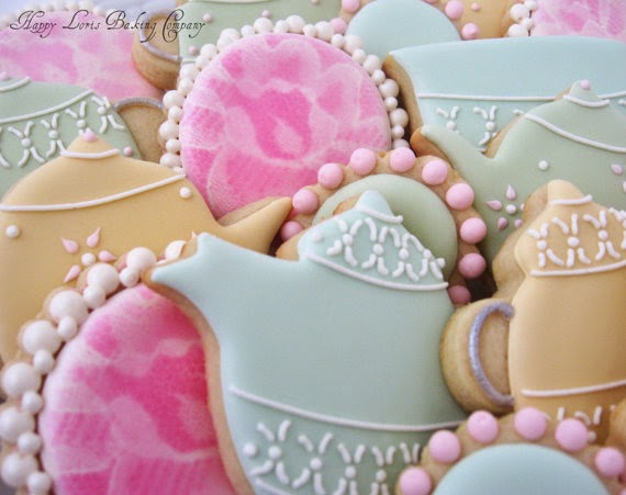 pastel tea party cookies