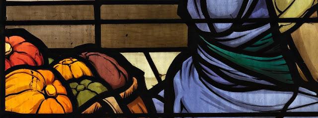 """détail du vitrail """"Jésus-enfant prêchant au temple"""""""