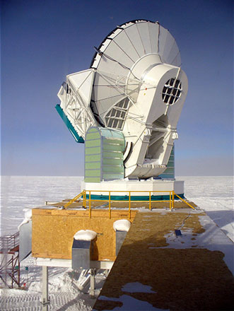 South Pole Telescope with 10 meter dish (Source: Wikipedia)