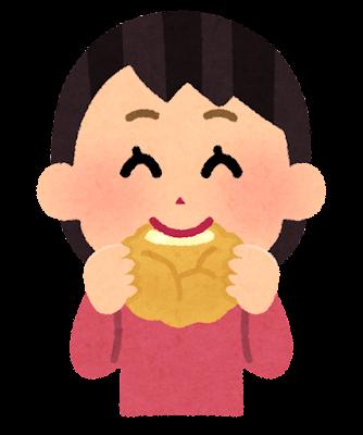 シュークリームを食べる子供のイラスト(女の子)