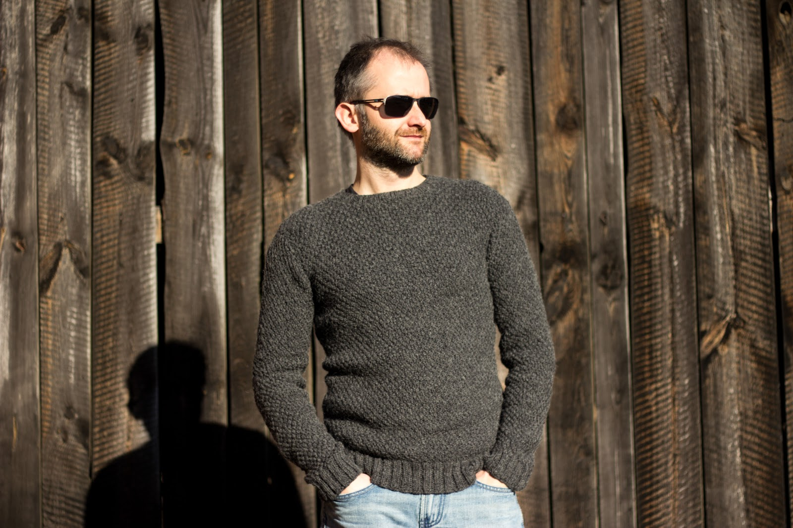 DIY Knitted Mens Sweater with Seed Stitch | Free Knitting Pattern