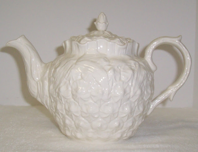 White Spode Teapot Imperial Fancies Pattern Pineapple